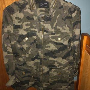 Camo zip up/button up jacket